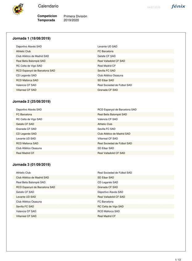 Calendario Liga Santander 2019 20 Betis.Calendario Completo Del Granada En Primera Consulta Las 38