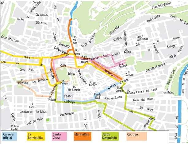 mapa de itenerarios Guía del Domingo de Ramos en Granada: mapa de itinerarios  mapa de itenerarios