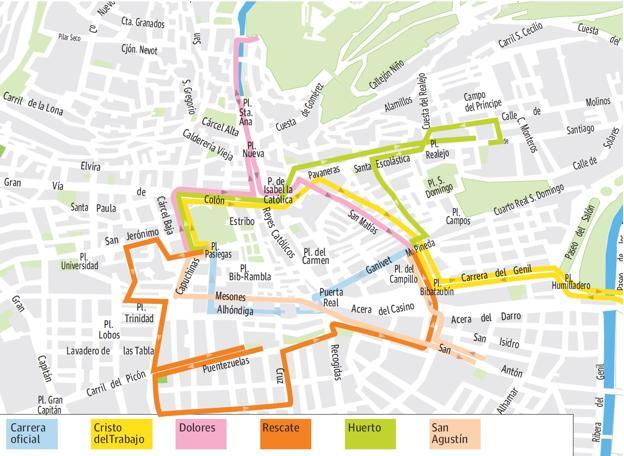 mapa de itenerarios Guía del Lunes Santo en Granada: mapa de itinerarios, recorridos y  mapa de itenerarios