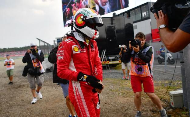 Vettel, tras el accidente en el Gp de Alemania./AFP