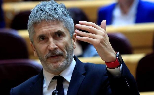 El ministro del Interior, Fernando Grande-Marlaska, este martes en el pleno de control al Gobierno, en el Senado./EFE