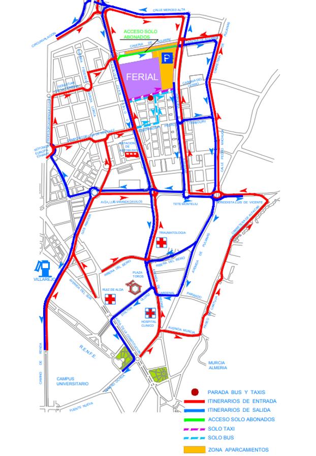 Mapa de direcciones de acceso a la zona del Recinto Ferial