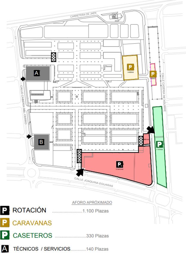 Mapa de aparcamientos del Recinto Ferial