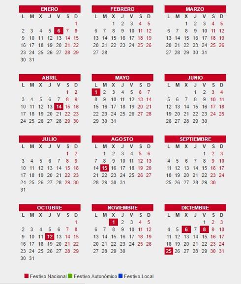 Calendario Laboral Espana.Calendario Laboral 2017 Por Provincias Festivos Y Vacaciones En