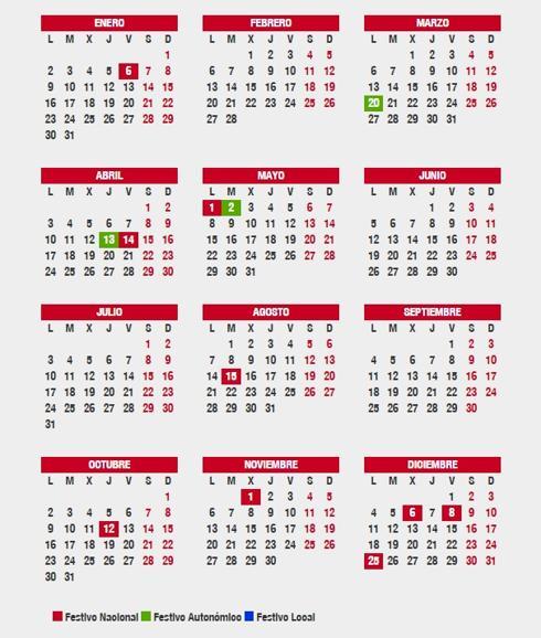 Calendario Festivo.En Que Lugares Es Festivo El 1 Y 2 De Mayo Puente Y